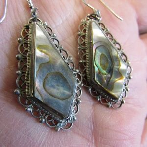 Vintage Filigree Silver and Abalone Earrings